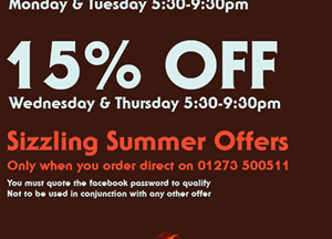 Get a cheeky 15% OFF today when you order direct through the restaurant.  Simply quote the...